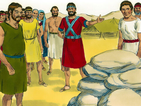 At a place called Gilgal Joshua instructed the twelve men to set up the large stones they had carried from the river bed as a memorial. – Slide 7