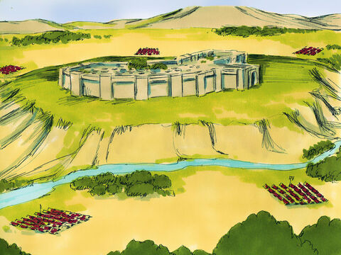 The Israelites were now ready to face their first challenge. Ahead of them was the heavily defended, walled city of Jericho. – Slide 9