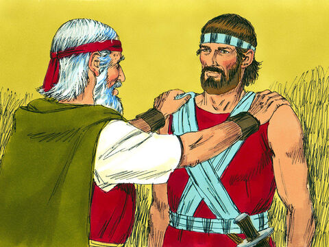 (Deuteronomy 31). God told Moses that he would not lead the Israelites into the Promised Land. Moses called everyone together and gave instructions to his successor Joshua. 'Be strong and courageous for you are to lead these people into the land the Lord has promised to them. The Lord goes before you and will never leave or forsake you. Don't be afraid or become discouraged.' – Slide 1