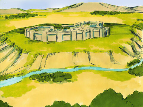 Ahead of them, just 12 (20km) miles away, on the other side of the River Jordan, was the walled city of Jericho. – Slide 6