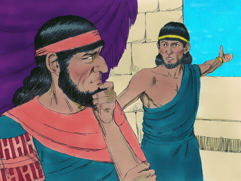 However the spies had been spotted. The King of Jericho was warned, 'There are Israelite spies in the city.' The king gave orders for soldiers to go to Rahab's house and arrest them. – Slide 9