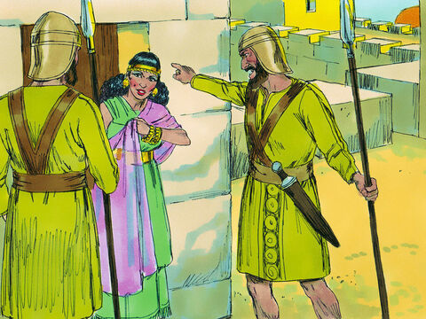 When the soldiers arrived she did not betray them. 'There were two men here but I did not know who they were,' she explained, 'at dusk before the city gate was closed they left and I don't know where they are heading.' – Slide 11