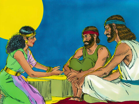 Rahab went up onto the roof and spoke to the spies. 'I know the Lord has given you this land and everyone here is very afraid. We have heard how God opened up the Red Sea to let you escape out of Egypt and our hearts are melting with fear.' – Slide 13