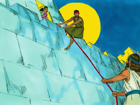 Rahab's house had a window in the city wall. That night she let them down a rope to make their escape. 'Go and hide in the hills for three days and when they have given up searching for you, you'll be able to cross the River Jordan.' – Slide 15