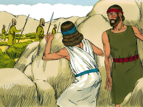 The two men hid in the hills around Jericho until it was clear for them to cross the River Jordan and return to the Israelites' camp. – Slide 18