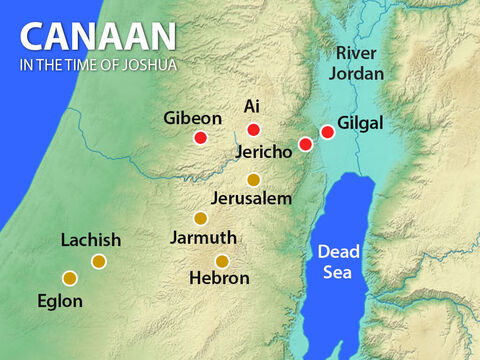King Adoni-zedek of Jerusalem sent messengers to several other kings: Hoham of Hebron, Piram of Jarmuth, Japhia of Lachish, and Debir of Eglon. They agreed to combine their armies to attack Gibeon. – Slide 3