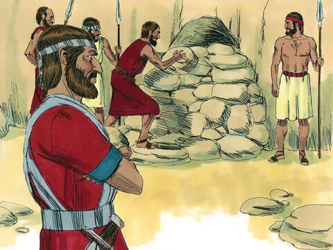 Then Joshua said, 'Remove the rocks covering the opening of the cave, and bring the five kings to me.' – Slide 12