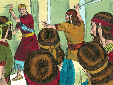 His 22-year-old son Amon became king but only ruled for a year. He too had no time for God. His officials attacked and killed him. His murderers were arrested and executed. – Slide 7
