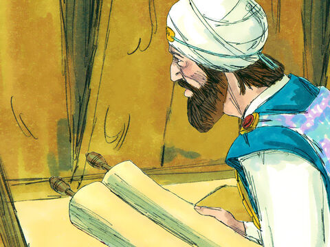 Then, while the repairs were being made, Hilkiah the High Priest made an important discovery. There in the temple, hidden from view, was a scroll containing the Book of God's laws. – Slide 14