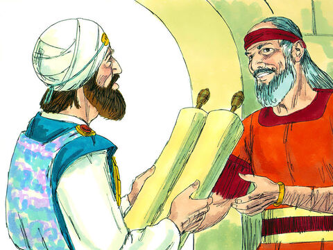 An excited Hilkiah rushed to Shaphan. 'I have found the Book of the Law in the temple of the Lord.' Shaphan immediately set off to tell King Josiah the news. – Slide 15