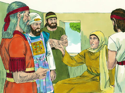The King sent Shaphan and Hilkiah to a prophetess called Huldah. 'She had a message from God for the king. 'As we have been so disobedient, God's will bring a disaster on this land. But, as the king has humbled himself, torn his robes and wept, this disaster will not happen in his lifetime.' (This disaster was an invasion by the Babylonian army which happened after the death of King Josiah. The Babylonians took the Jews back to their land as captives). – Slide 17