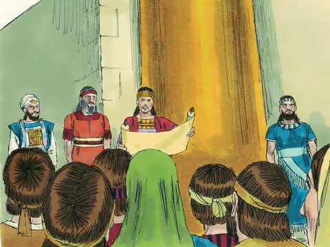 King Josiah called a meeting in the temple of everyone in Jerusalem and Judah, along with all the priests and Levites. The King read the words of God's laws to everyone, then promised to obey them with all his heart and soul. The people then promised to do the same. – Slide 18