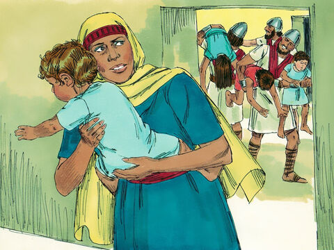 However one of the grandsons, a one-year-old child called Joash, escaped the killings. His aunt, Jehosheba, the wife of Jehoiada the priest, saved Joash by keeping him hidden in one of the room of the Temple for six years. – Slide 2