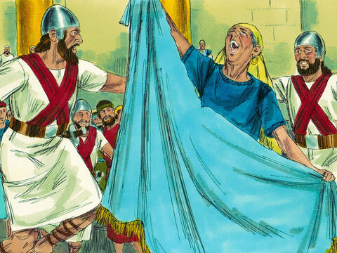 Hearing the noise, Athaliah hurried to the Temple. When she saw Joash she torn her clothes and shouted, 'Treason!' Soldiers were ordered to lead her out of the Temple to be executed. – Slide 4