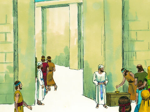 Finally Joash decided he must do something, so he had a large box placed by the Temple gate. When the people came to offer sacrifices, they were encouraged to put their gift of money into the box. – Slide 8
