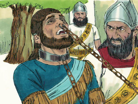 The Assyrians put a hook through Manasseh's nose and led him away all the way to Assyria. – Slide 13