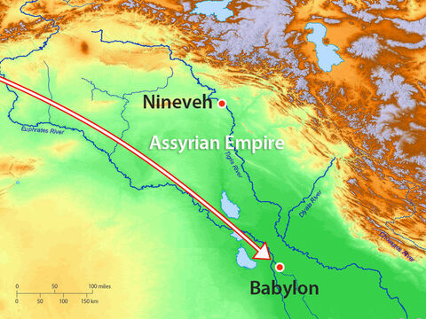 The King of Assyria was also governor of Babylon and Manesseh was taken to this city – known for its wickedness. – Slide 14