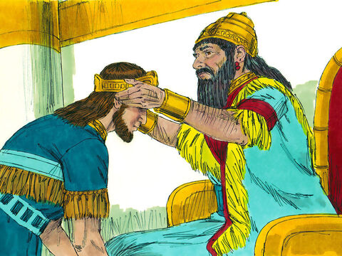 God answered Manasseh's prayer. The King of Assyria decided to restore him to be King of Judah once more. – Slide 17