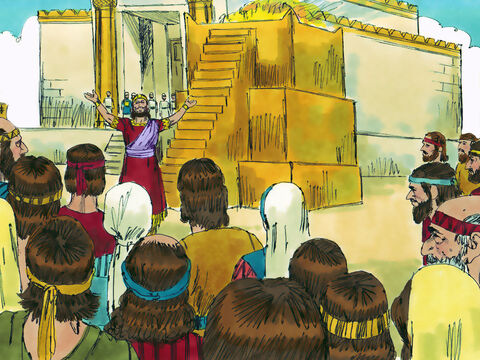 The King them told the people to serve God. He had misled them and set a very bad example, but now he urged them to repent and turn back to God as he had done. – Slide 22