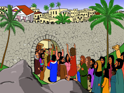 So Jesus walked on into Jericho with Bartimaeus thanking and praising God that he could now see. – Slide 26
