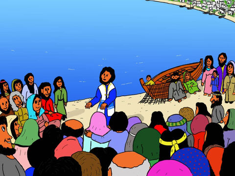 Jesus and His twelve disciples had arrived in boats and lots and lots of people had gathered to see Him. Over five thousand men plus lots of women and children were there. – Slide 2