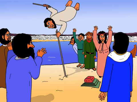 The boy was so happy when he saw lame people who could not walk being healed and then running and jumping and praising God. – Slide 5