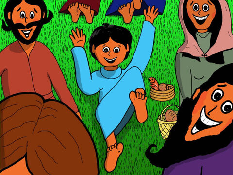 Jesus taught the people from morning and then all afternoon but nobody wanted to go home. So many exciting things had happened and the boy had not had time to eat much of the food in his basket. – Slide 7