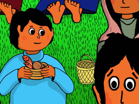 The boy heard everything. He had five barley loaves and two fishes left in his basket. 'I could give my food basket to Jesus,' he thought. – Slide 14
