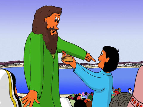The boy went to one of Jesus' disciples named Andrew.  'I want to give my food basket to Jesus!' Andrew said, 'Okay, so you have five bread loaves and two little fishes you want to give to Jesus! Then you have to come down to Jesus!' – Slide 15