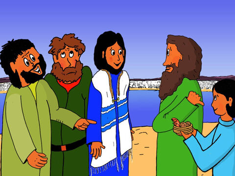 Jesus, here is a boy with five small barley loaves and two small fish, but how far will they go among so many?' Andrew asked. – Slide 16