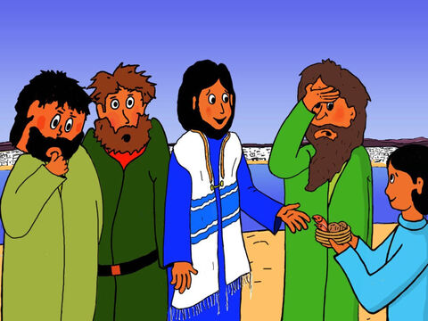 But Jesus said, 'It is enough! We need no more!' The disciples were very surprised! – Slide 17