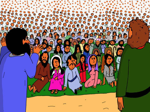 The disciples began organising the people into smaller groups. Everyone waited. What was going to happen? They were so hungry. – Slide 19
