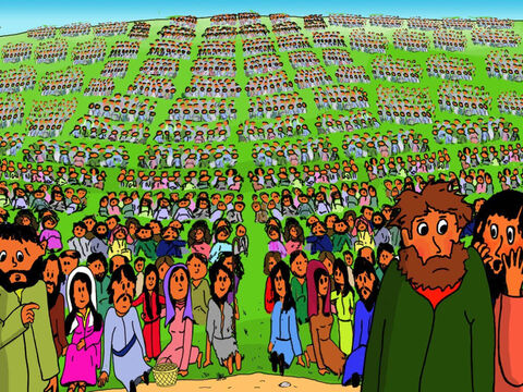 Then everyone went silent and all eyes looked at Jesus. The disciples began to be ashamed. They thought, 'Five loaves of bread and two fish for so many people. Would they start laughing at them?' – Slide 22