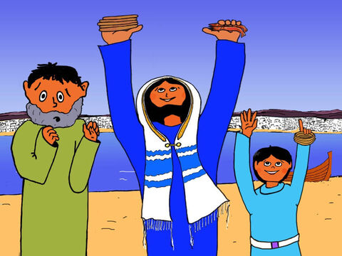 Jesus took the five loaves and two fish in His hands, held them up. He gave thanks to God and prayed that He would bless the food. – Slide 23
