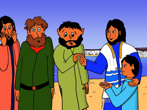 Jesus then broke the food into smaller pieces and gave some to each of His disciples. – Slide 24