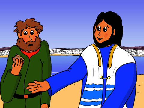 'Go and share the bread and fish with the people sitting down,' said Jesus. He was testing their faith. – Slide 25