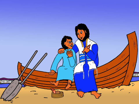 Jesus and the boy also ate bread and fish. The boy was so happy to be with Jesus and know that Jesus had blessed his food. – Slide 28