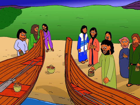 The disciples had gathered twelve baskets full of food so they now had their food basket and they were so happy. No one had laughed at them. Everyone loved Jesus. Then the disciples went into their fishing boats to sail over to the other side of the Galilean lake. – Slide 31