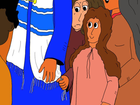 Keeping her face hidden so no-one would recognise her, she quietly joined the crowd and crept up behind Jesus. While no-one was watching, she reached out a hand and took hold of a corner tassle on Jesus' mantle. – Slide 10