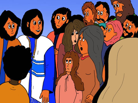 But then Jesus stopped and the crowd halted. 'Who touched me?' Jesus asked. – Slide 12