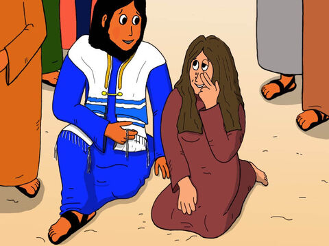 But Jesus was not angry with the woman. Instead, He welcomed her and said, 'Daughter, your faith has healed you. Go in peace and be freed from your suffering.' – Slide 17