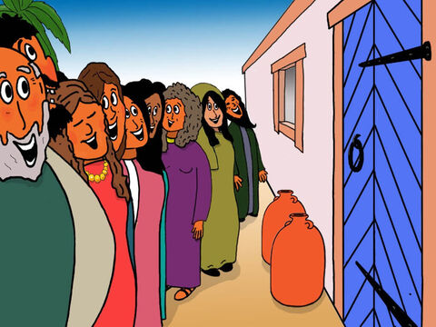 Outside the house those who had mocked and laughed at Jesus were waiting to find out what had happened. – Slide 30