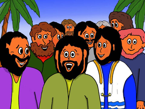 So Jesus and His disciples walked out of the town of Capernaum on their way to Nazareth. Everyone was very happy! – Slide 33