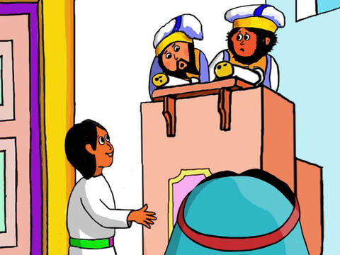 Jesus asked difficult questions about God to the Temple teachers, but they could not answer them. So Jesus explained about God to them and answered their questions. – Slide 25