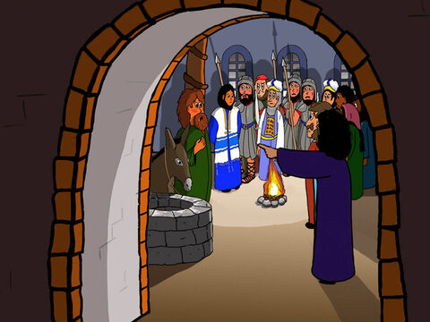 Later, several looked at Peter and said that he was definitely one of Jesus´ disciples, but Peter denied it and swore again. – Slide 35