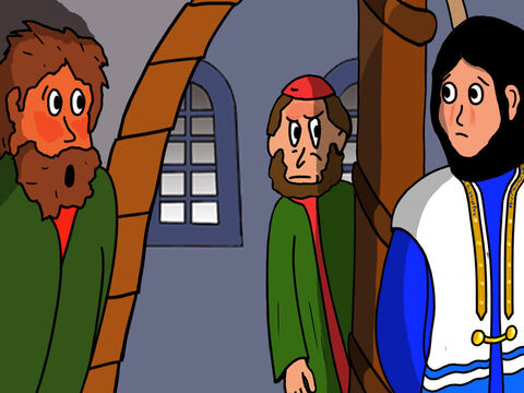 At that moment Jesus turned and looked at Peter. Peter remembered what Jesus had said and was so ashamed that he went out of the courtyard. – Slide 37