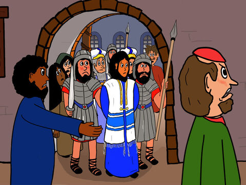Now the Priests and Jewish leaders decided that Jesus should be judged by the Grand Council – the Sanhedrin - a group of 70 Jews who were responsible for understanding and interpreting God´s laws. This all took place at a time the emperor of Rome and his soldiers ruled over everything else in Israel. – Slide 1