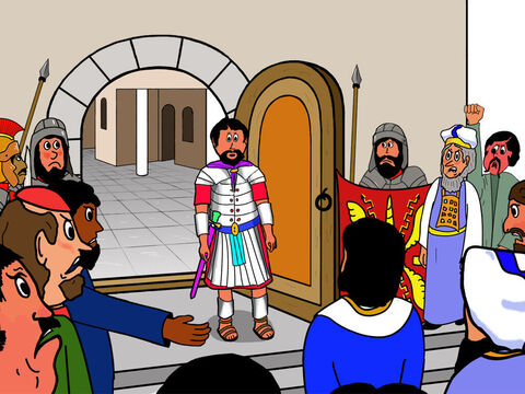 When Pilate opened the door, they shouted: 'Here is a man who said He is the Son of God. You have to kill Him.  <br/>But Pilate did not want to do that. He did not think this charge deserved the death penalty. So they changed their accusation and shouted, 'He has made himself king!' – Slide 5