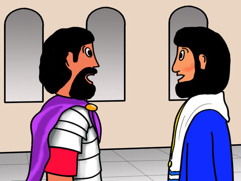 Pilate took Jesus inside and asked Him if He was the king of the Jews. Jesus replied, 'My kingdom is not of this world.' – Slide 6