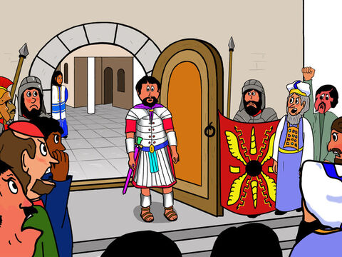 The large crowd that had gathered outside shouted, 'He has made himself king! We have no king but the Roman emperor!' <br/>Pilate was astonished to hear this as the Jews hated having the Romans  rule over them. – Slide 9